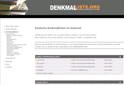 Screenshot der Seite www.denkmalliste.org